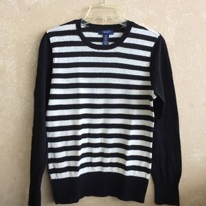 Women's Chaps long sleeved striped sweater.